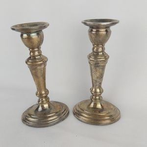Vintage silver with patina candles holders